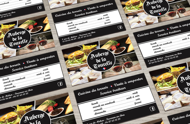 Création de cartes de visite pour un restaurant de cuisine traditionnelle française